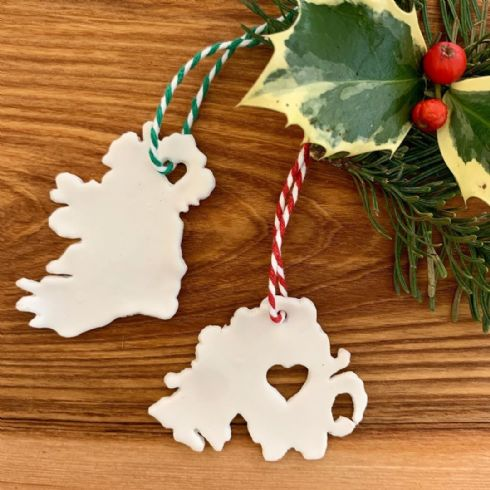 Jemma Millen Ceramics - Mini Porcelain Ireland & Northern Ireland Map Christmas Decorations